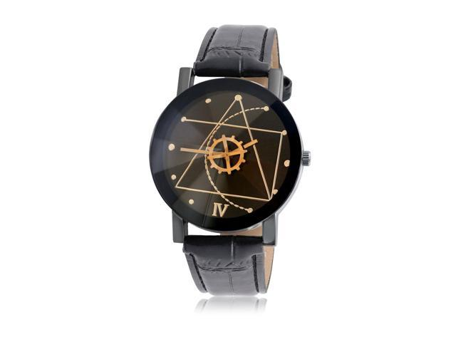 Bling Jewelry Stainless Steel Geometric Leather Mens Dress Watch