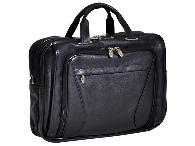 McKlein Irving Park Black Leather Dual Compartment Laptop Briefcase