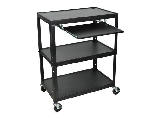 Luxor Adjustable Steel A/V Cart with Keyboard Shelf