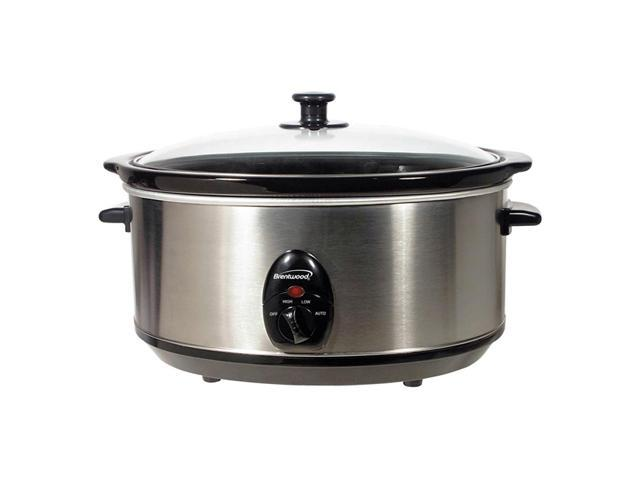 Brentwood SC-150S 6.5 Quart Stainless Steel Slow Cooker- Stainless & Black