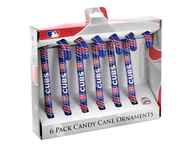 Chicago Cubs Plastic Candy Cane Ornament Set
