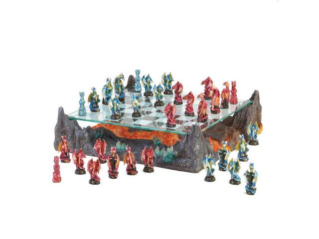 Blue and Red Dragon Chess Set
