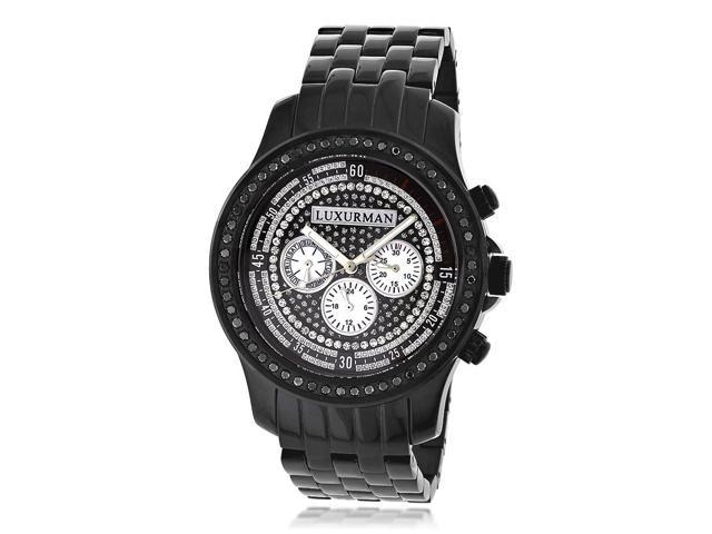 Luxurman Men's Black Diamond Japanese Quartz Watch