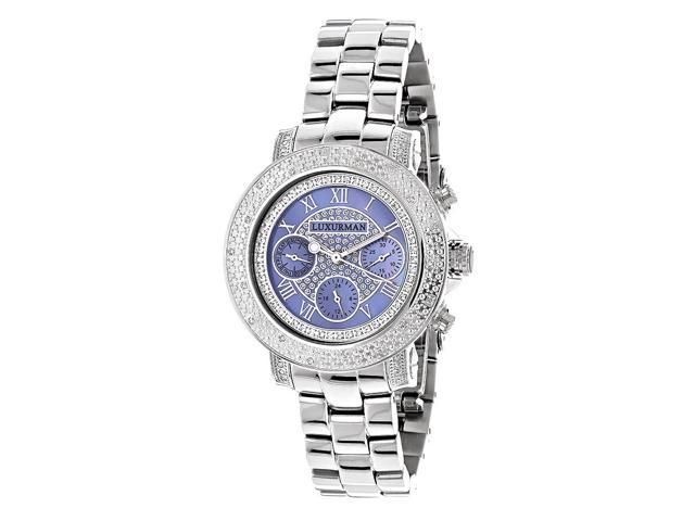 Luxurman Women's 1/3ct TDW White Diamond Blue Mother of Pearl Watch