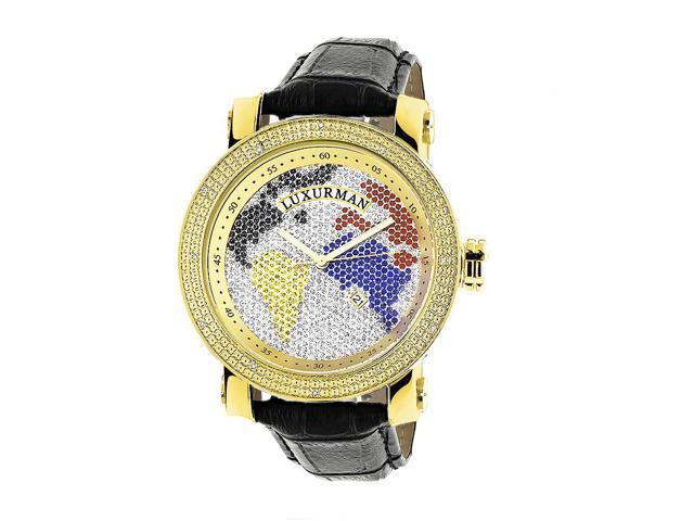 Luxurman Men's Multi-colored World Map 0.18ct Diamond Watch