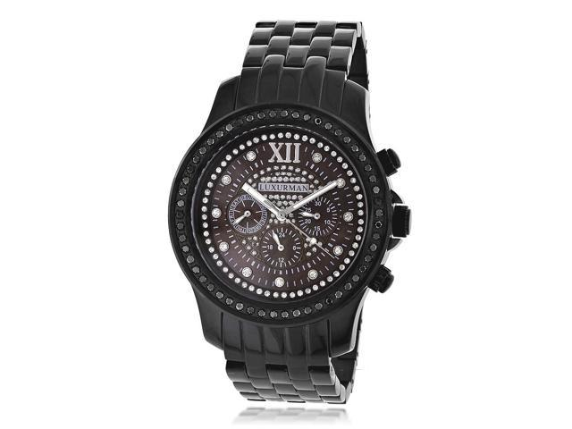 Luxurman Men's Black Diamond Stainless Steel Japanese Quartz Watch
