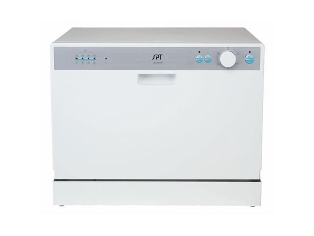 Spt Countertop Dishwasher White : SPT 6 Place Setting White Countertop Dishwasher with Delay Start ...