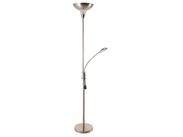 Task torchiere 2 light floor lamp with gooseneck style reading led light - Gooseneck floor lamps for reading ...