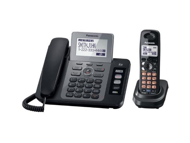 Panasonic KX-TG9471B 1.9 GHz Digital DECT 6.0 Two Line Expandable Corded/Cordless Phone with 1 Handset and Digital Answering ...