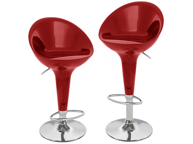 Beta Contemporary Bombo Style Adjustable Barstool - Cabernet Red