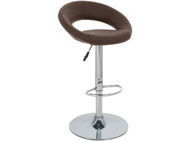 "Rho ""Leather"" Contemporary Adjustable Barstool - Brown"
