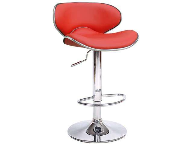 Kappa Contemporary Adjustable Barstool - Cherry Red