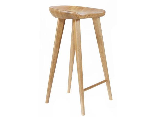 Tractor Contemporary Carved Wood Barstool Walnut Finish