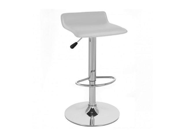 Vandue Corporation SIGMAPVC-WHITE Faux Leather Adjustable Height Swivel Barstool-Vanilla White