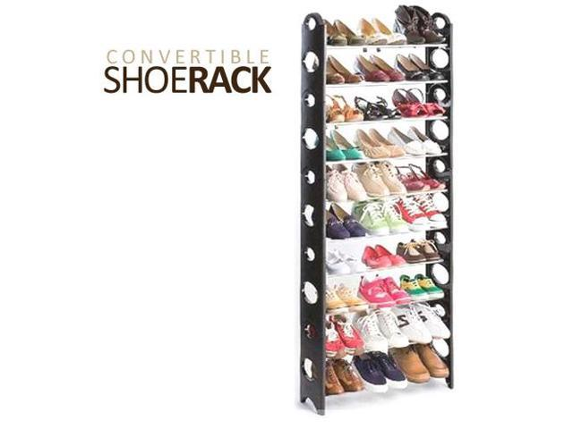 Convertible 30 Pair Shoe Rack Tower With Zippered Cover