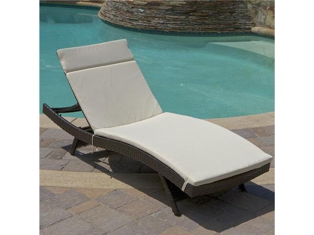 Christopher Knight Home Outdoor Wicker Adjustable Chaise Lounge with Cushion - Brown