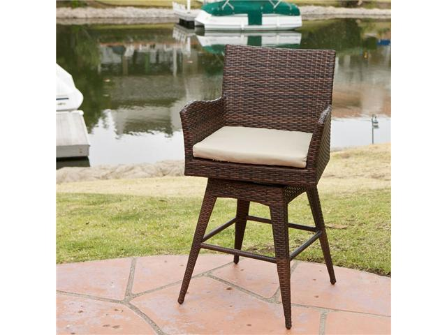 Christopher Knight Home Braxton Brown PE Wicker Swivel Barstool