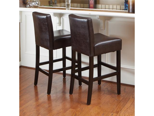 Christopher Knight Home Lopez Brown Leather Counterstools (Set of 2)