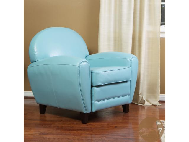 Christopher Knight Home Oversized Teal Blue Leather Club