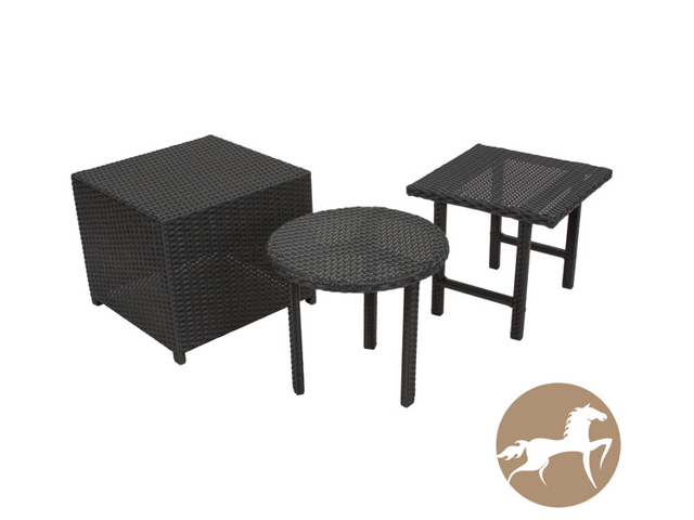 Christopher Knight Home Danica Black Wicker 3pc Table Set