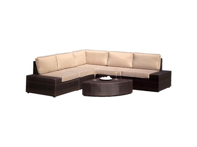 Christopher Knight Home Santa Cruz 6-Piece Brown PE Wicker Sofa Set