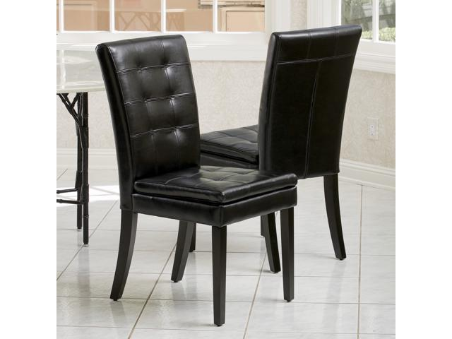 Christopher Knight Home Crayton Black Leather Dining Chair