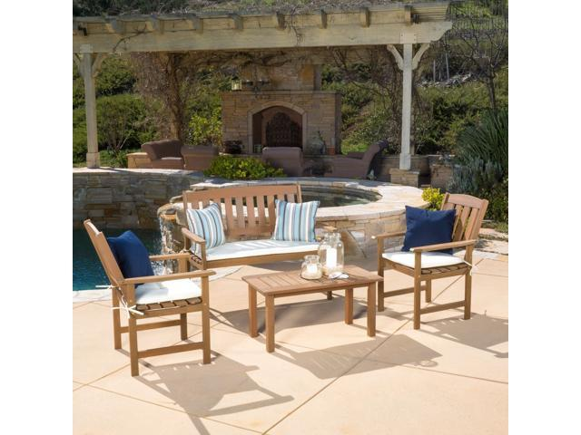 Christopher Knight Home Outdoor Belize 4-piece Wood Chat Set with Cushions