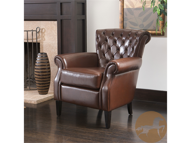 Christopher Knight Home Franklin Brown Tufted Bonded Leather Club Chair