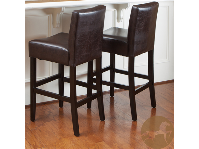 Christopher Knight Home Brown Leather Bar Stools (Set Of 2