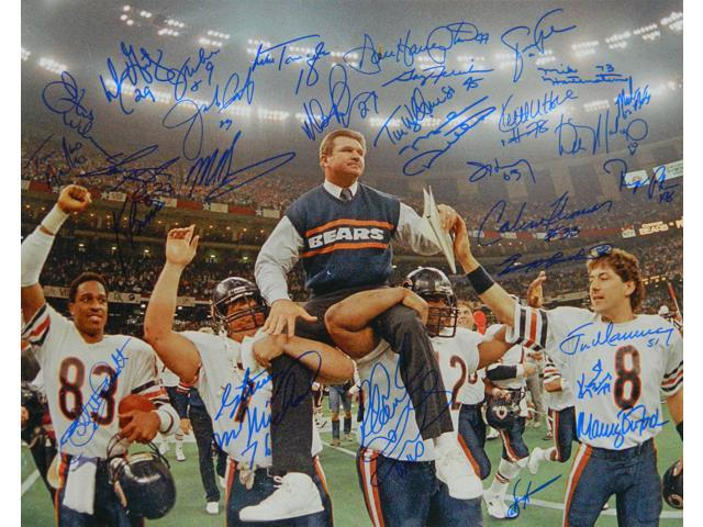 1985 Bears Team Signed Super Bowl XX Ditka Carried Off Field 16x20 Photo (30 Sigs)
