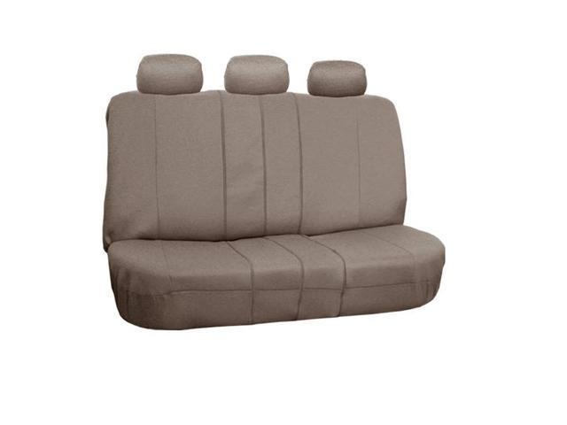 FH-FB052013 FH Group Flat Cloth Car Seat Covers Bench Cover Split Compatible Taupe