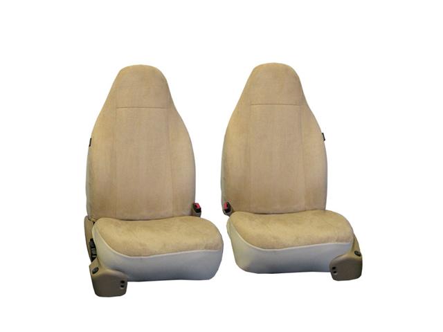 FH-FB105102 FH Group Classic Suede Car Seat Covers Set of 2 Bucket Covers Airbag Safe Beige