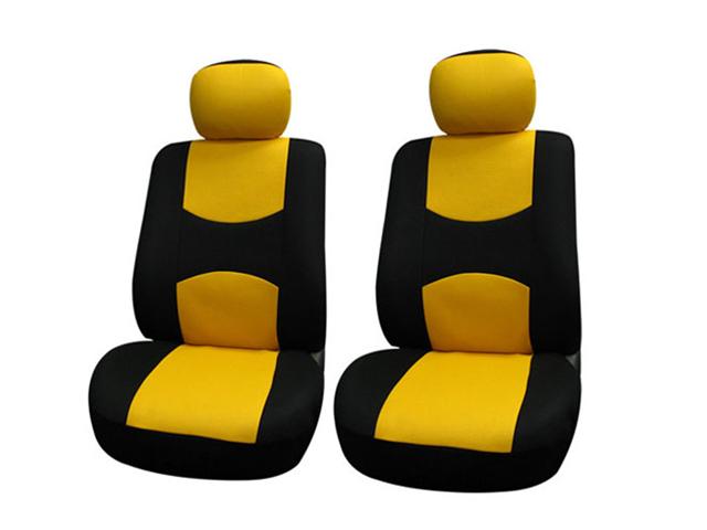 Pair Bucket Fabric Seat Covers w. Detachable Headrest Yellow & Black