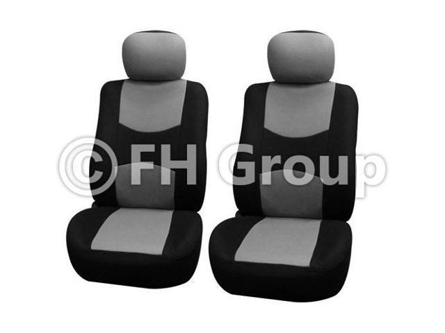 Pair Bucket Fabric Seat Covers w. Detachable Headrest Gray & Black
