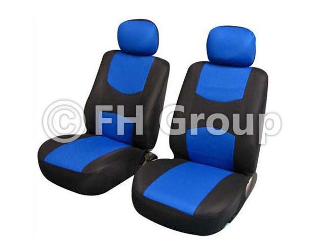 Pair Bucket Fabric Seat Covers w. Detachable Headrest Blue & Black