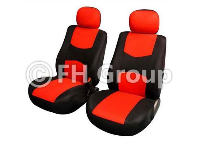 Pair Bucket Fabric Seat Covers w. Detachable Headrest Red & Black
