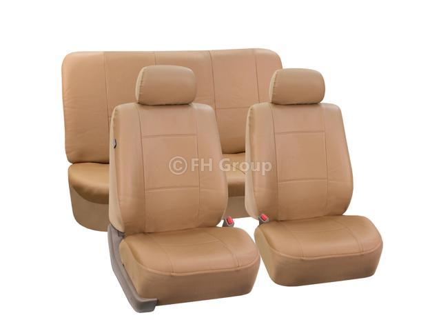 PU Leather Seat Covers w. 2 Detachable Headrests and Solid Bench Tan