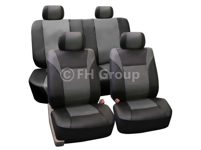 FH Group Racing PU Leather Seat Covers Airbag Safe & Rear Split Full Set Gray