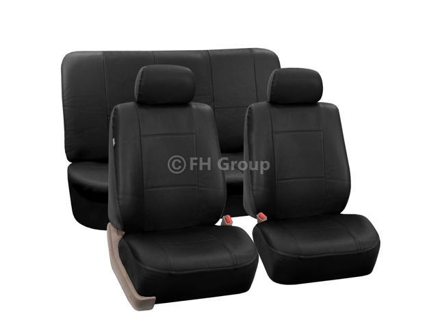 PU Leather Seat Covers Airbag Compatible & Rear Split W. 2 Headrests