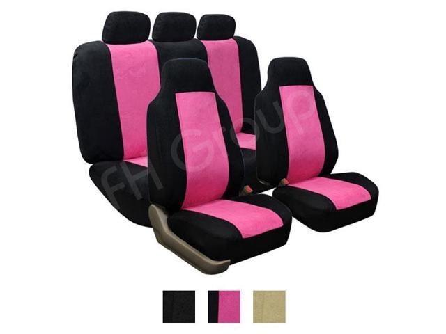 FH Group Suede Airbag & Split Compatible Full Set Car Seat Covers (Pink)