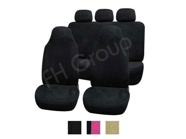 FH Group Suede Airbag & Split Compatible Full Set Car Seat Covers (Black)