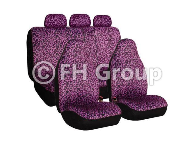 Purple Leopard Seat Covers Airbag Compatible & Split Rear W. 3 Rear Headrests