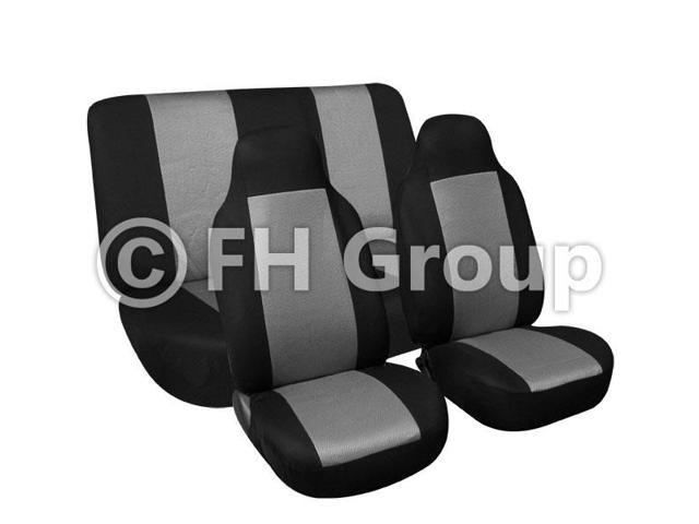 Fabric Fish Net Stitching Seat Covers W. Attached Front Headrest & Solid Bench