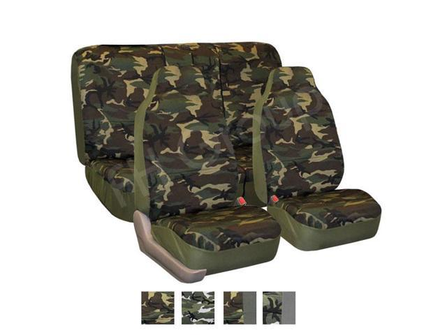 FH-FB109112 FH Group Quality Cotton Car Seat Covers Full Set Side Airbag & Split Compatible Dark Camouflage