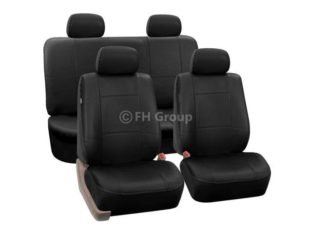 PU Leather Seat Covers W. 4 Headrests & Solid Bench Black
