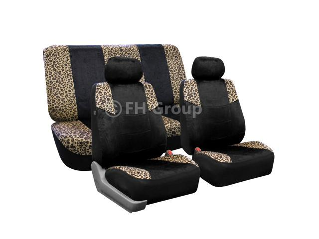 FH-FB080112 FH Group Lush Velour Seat Covers Full Set Side Airbag & Split Compatible Leopard Print