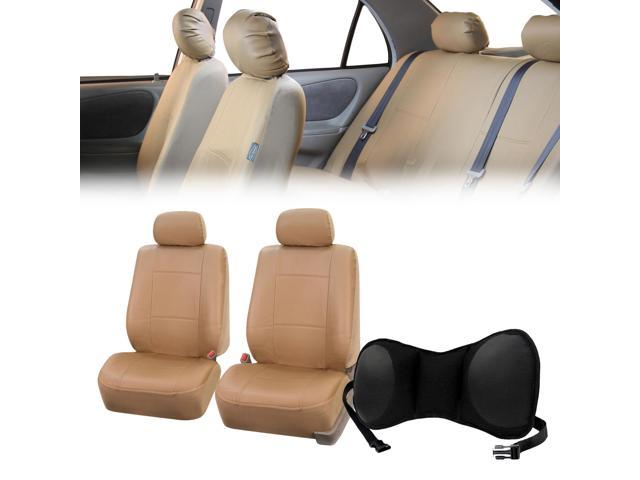 PU Leather Front Bucket Pair Beige for Auto with Seat Back Cushion Pad Black for Auto Car SUV Truck