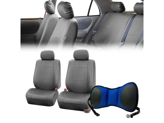 PU Leather Front Bucket Pair Gray for Auto with Seat Back Cushion Pad Blue for Auto Car SUV Truck