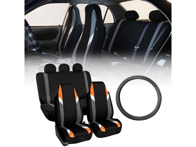 FH Group Highback Modernistic Orange Car Seat Covers with Leather Steering Wheel Cover
