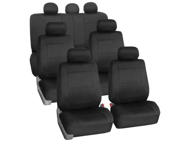Neoprene 3 Row Car Seat Covers for SUV VAN TRUCK 7 Seaters Black